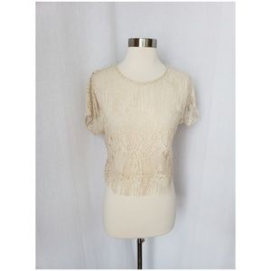 URBAN OUTFITTERS cream lace cropped top